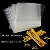Clear Treat Bags 100 PCS (6''by 8'') Cellophane Bag Party Favor Bags with 100PCS Gold Twist Ties for Wedding Gift Cookie Candy