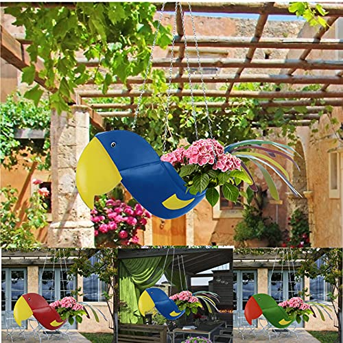 Flying Parrot Flower Pot Hanging Planters Hanging Flower Pots Plastic Plant Hanger Holders Hanging Basket for Indoor Outdoor Garden Herb Succulent Ceiling Wall Window Hanging SPRAOI (Blue)
