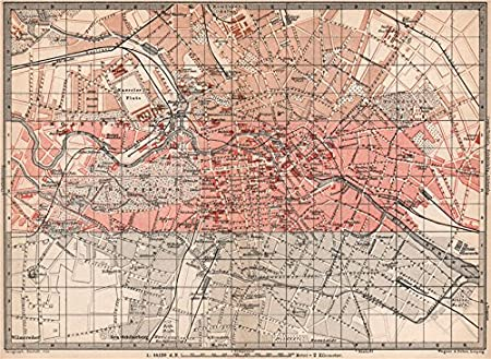 BERLIN CENTRE KEY MAP Antique Town City Innere Stadtplan Karte - Vintage map berlin