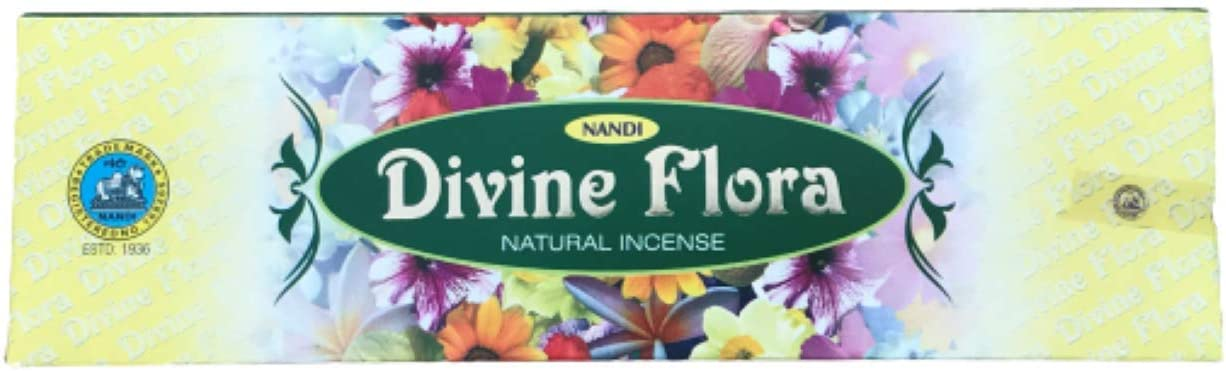 Nandi Divine Flora Natural Incense - 100 Gram Box - Aprox 75 Sticks