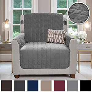 Gorilla Grip Original Velvet Slip Resistant Luxurious Chair Slipcover Protector, Seat Width Up to 23 Inch Patent Pending, 2 Inch Straps, Hook, Armchair Furniture Cover for Pet, Dog, Kids, Chair, Gray
