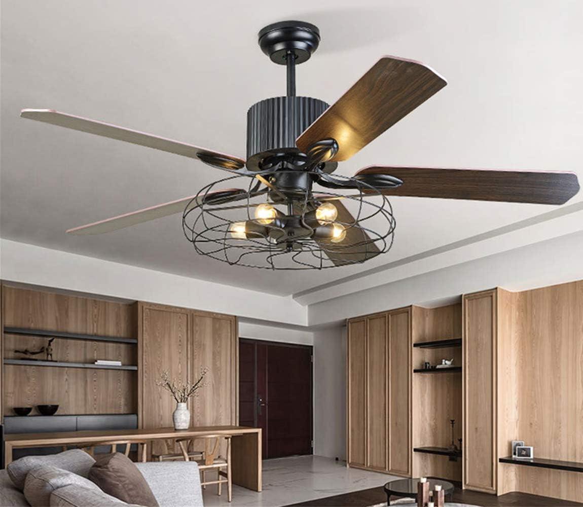 PUIPUI Kronleuchter Retro Deckenventilator Licht Esszimmer Wohnzimmer Ventilator Kronleuchter Holzblatt Ventilator Kronleuchter