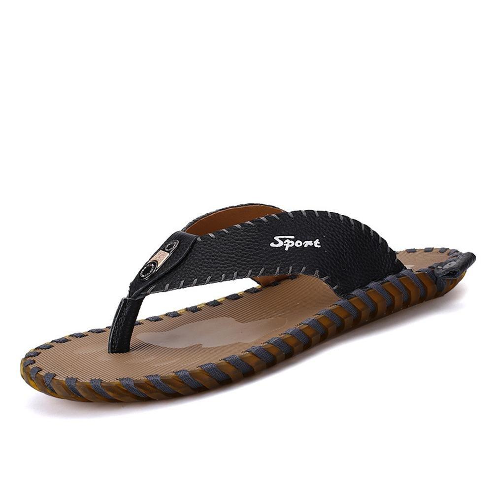 Männer Pantoffel Mode Rindsleder Flip Flops Anti-Rutsch langlebig und komfortable Sandalen , brown , 38