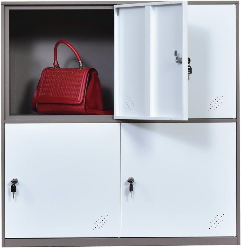 per salotto e scuola per ragazzi 4D per vestiti bianco con serratura stanza da letto e ufficio colore bianco per la casa Armadietto in metallo a 9 ante metallo