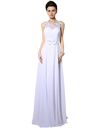 Clearbridal Vintage A-line Chiffon Long Prom Evening Party Dress Neckline Bridesmaid Gowns for Women
