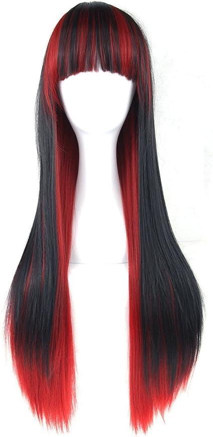 FH JIAFA - Peluca Dama de moda Negro degradado rojo largo ...