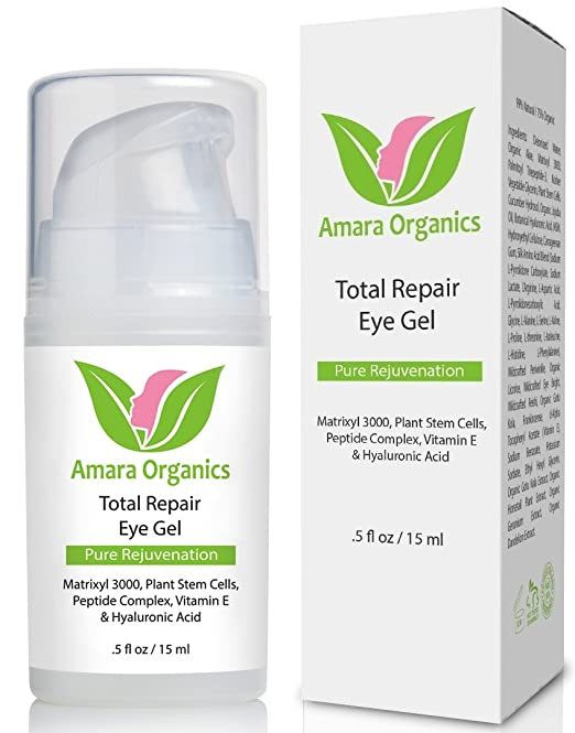 Amara Organics Eye Cream Gel for Dark Circles and Puffiness with Peptides