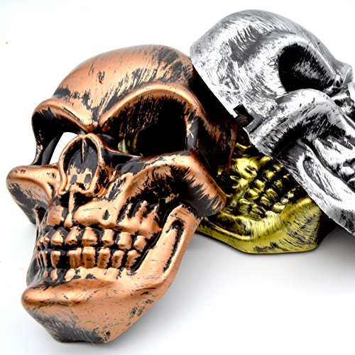 Skull Mask - [3-PACK] Bronze / Silver / Gold - Great for a 2017 Halloween (Makeup Ideas For Halloween 2017)