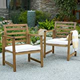 Cheap Eveleigh Coastal Outdoor Natural Stained Acacia Wood Club Chair (Set of 2)