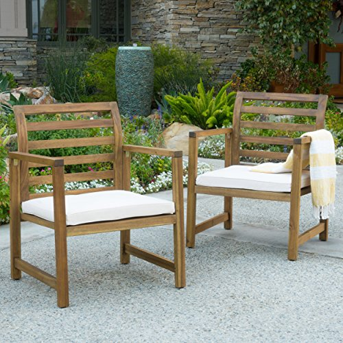 Eveleigh Coastal Outdoor Natural Stained Acacia Wood Club Chair (Set of 2)