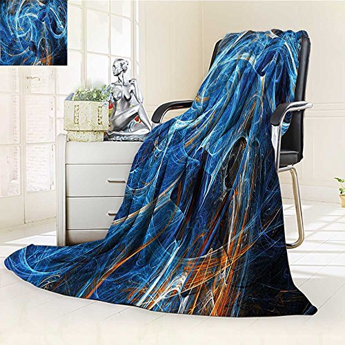 YOYI-HOME Fleece Duplex Printed Blanket 300 GSM Fractal Chaos Curves Hollow Science Fiction Style Space Wind Digital Artwork Blue Golden Reversible Super Soft Warm Fuzzy Bed Blanket /W79 x H47 ()