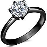 Size 3-13 1.0 Carat Classical Stainless Steel Solitaire Wedding Engagement Proposal Statement Ring