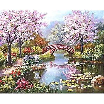 Superluckty Flores De Cerezo Sin Marco Paisaje Pintura