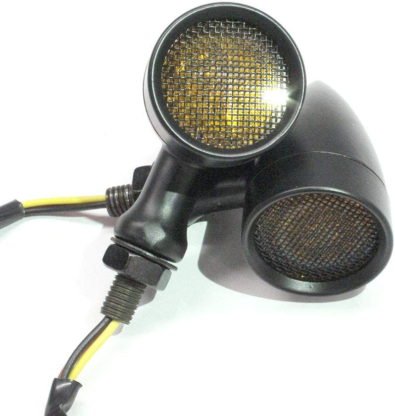 Black Motorcycle LED Turn Signals Amber Light Brake Running Tail Lights Bullet