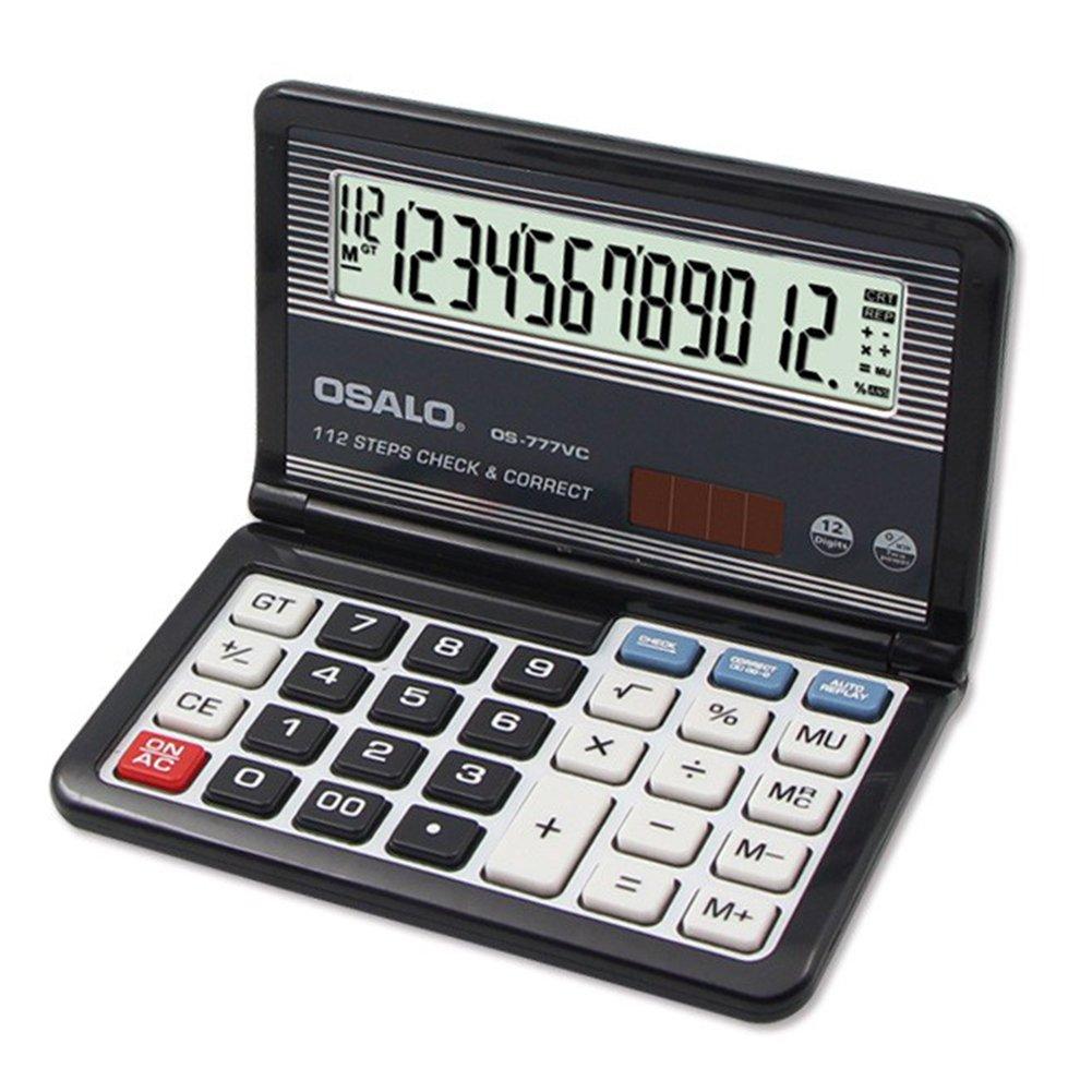 Ocamo 12-Digit Display Solar Battery Dual Power Calculator Portable Foldable Basic Calculator Coffee