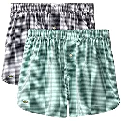 Lacoste Men's 2-Pack Authentic Gingham Woven Boxer