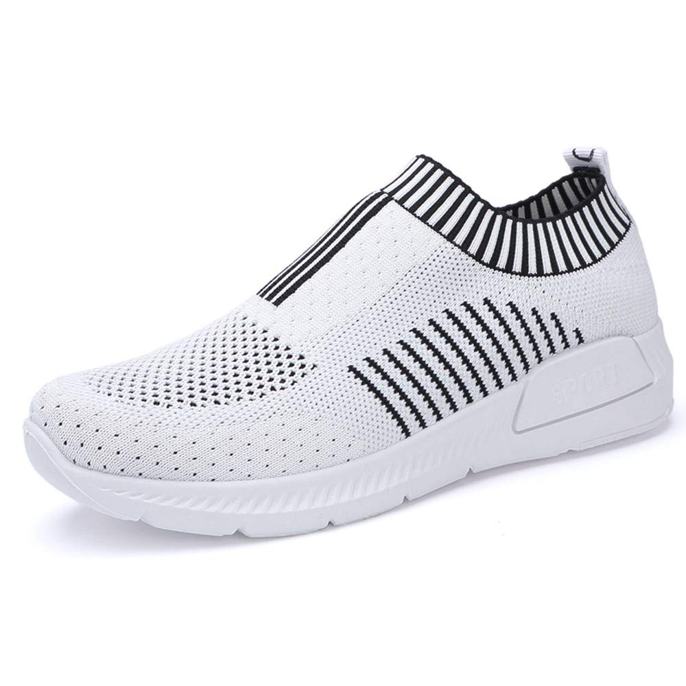 YSFU Sneaker Turnschuhe Sportschuhe Atmungsaktive Vulkanisierte Schuhe Damen Weiße Freizeitschuhe Atmungsaktive Sportschuhe Laufgitter Flachen Boden Streifen Damen Laufen Leichte Outdoor - 991da2