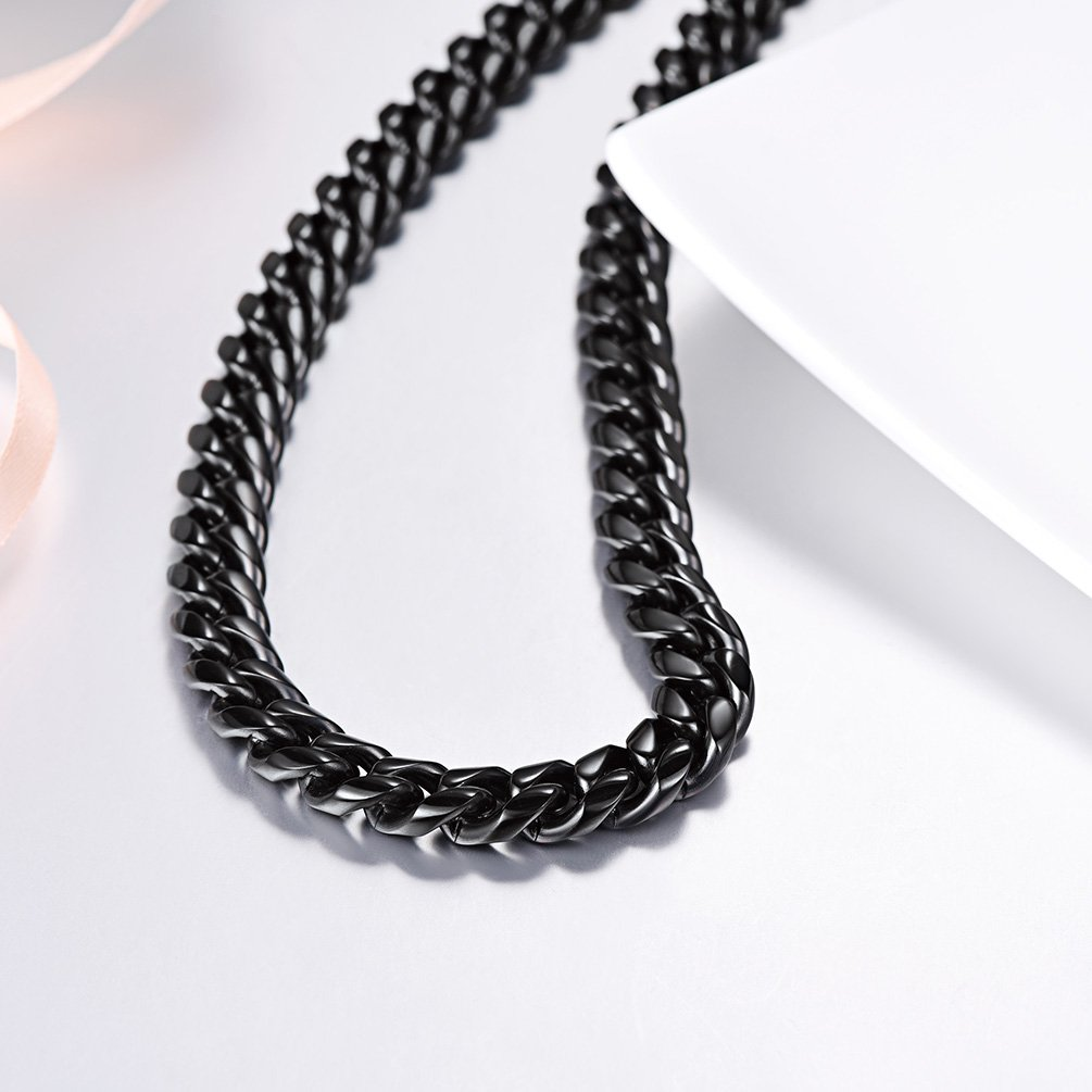 Cuban Chain Clasp 6MM/10MM/14MM Wide Necklace Pendant 316L Stainless Steel Jewelry 18K Gold/Black Gun Plated Men Jewelry 18''/20''/22''/24''/26''/28''/30'' PSN2910H-18 PROSTEEL Jewelry