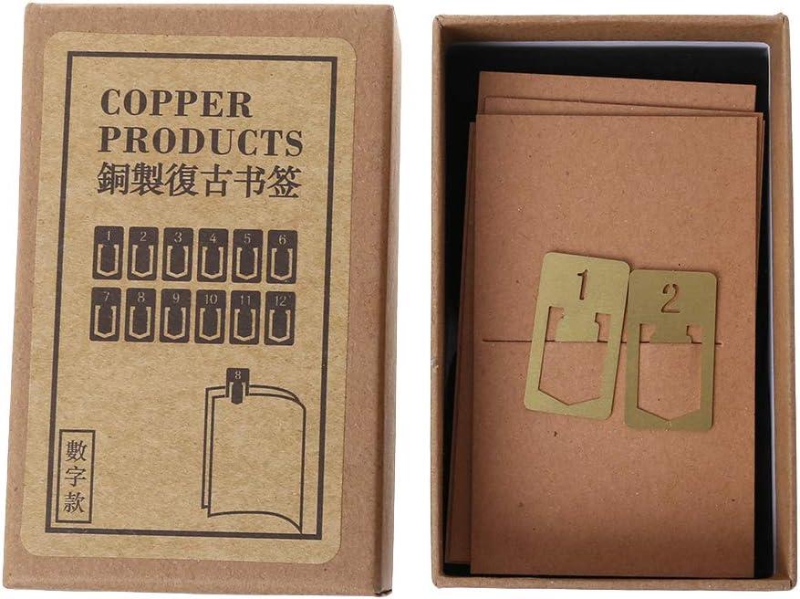Schulbedarf Zahlen aus Metall Cansenty 12 Messing-Lesezeichen Klemme f/ür Buchstifte Geschenk