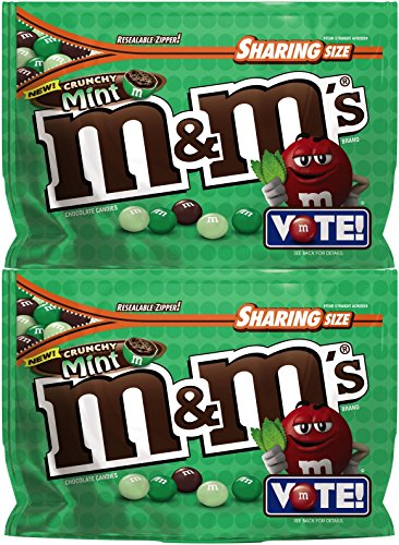 M&M's Chocolate Candy (2 Pack) Flavor Vote Crunchy Mint Sharing Size, 8 Ounce Bags]()