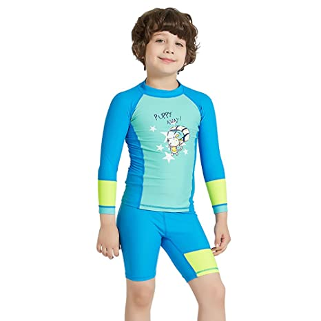 7bd61a6f68 CADong Girls Boys Two Piece Rash Vest long Sleeve Rash Guard Tankini Sets Swimsuit  Swimwear UPF