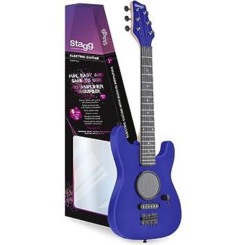 Stagg GAMP200-BL - Guitarra eléctrica para niños (3 vatios amplificador de operación, batería de 9V, control de volumen) color azul: Amazon.es: Instrumentos ...