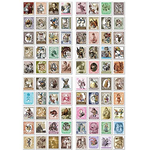 EORTA 5 Sets/400 Pcs Post Stamp Stickers for Kids Vintage Postage Stamps Assortment Adhesive Paper Sticker Decor Envelope/Bag Seal for Diary Album Scrapbook Craft Gift, Alice in Wonderland Theme]()