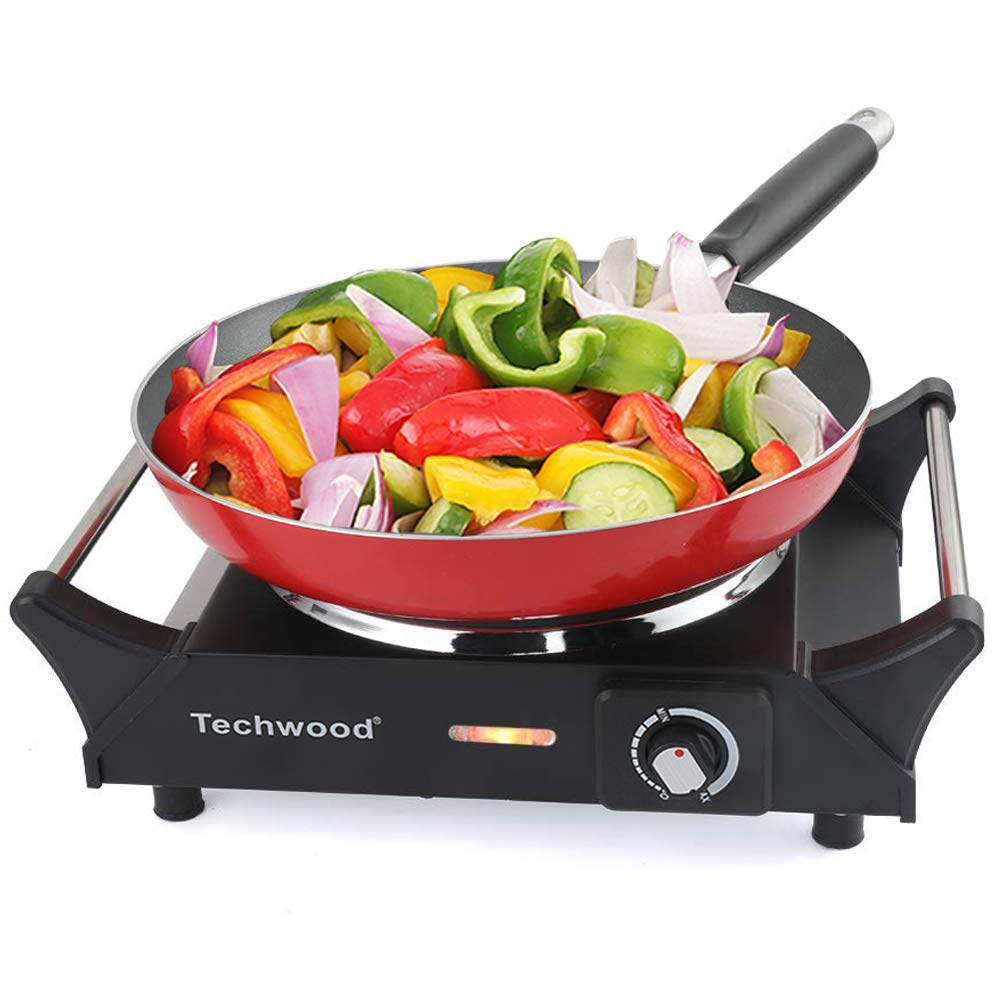 Techwood Hot Plate Electric Single Burner Portable Burner, 1500W with Adjustable Temperature, Stay CoolHandles, Non-Slip Rubber Feet, Black Stainless Steel Easy To Clean, Upgraded Version ES-3103 by Techwood (Image #1)