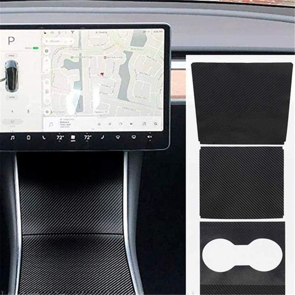 Einfache Installation PVC-Folie flackert Mattschwarze Kohlefaser 1 Satz Verkleidungssatz f/ür die Mittelkonsole f/ür Tesla Modell 3