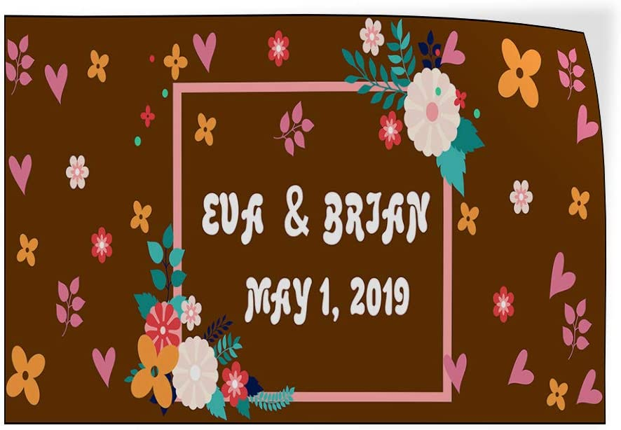 Custom Door Decals Vinyl Stickers Multiple Sizes Wedding Brown Name Date Lifestyle Wedding Outdoor Luggage /& Bumper Stickers for Cars Brown 42X28Inches Set of 5
