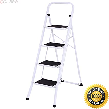 Colibrox 4 Step Ladder Folding Steel Step Stool Anti Slip Heavy