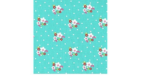 Tela flores y puntos (blanco, fucsia, rosa claro, verde hoja y rojo - color de fondo: turquesa) - 100% algodón suave   ancho: 160 cm (1 metro): Amazon.es: ...
