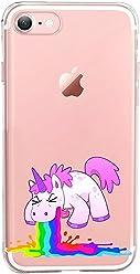 Girlscases® iPhone 8/7 Hülle   Einhorn kotzt Regenbogen  Transparente Schutzhülle mit Einhorn Regenbogen Unicorn Motiv   Aus TPU Silikon
