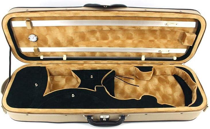 Estuche de violín de tamaño completo Estuche rígido violín de cuero PU con higrómetro Manija Bolsillo con cremallera Mochilas Correas Fiddle profesional Estuche rígido violín liviano Beige Tamaño comp: Amazon.es: Hogar