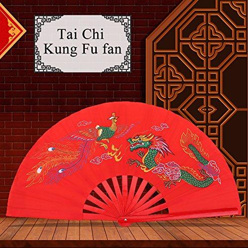 - Chinese Kung Fu Tai Chi Fan,Red Handheld Folding Fan Fighting Fan Martial Arts Dance Bamboo Fan Dragon + Phoenix Folding Hand Fan for Men/Women