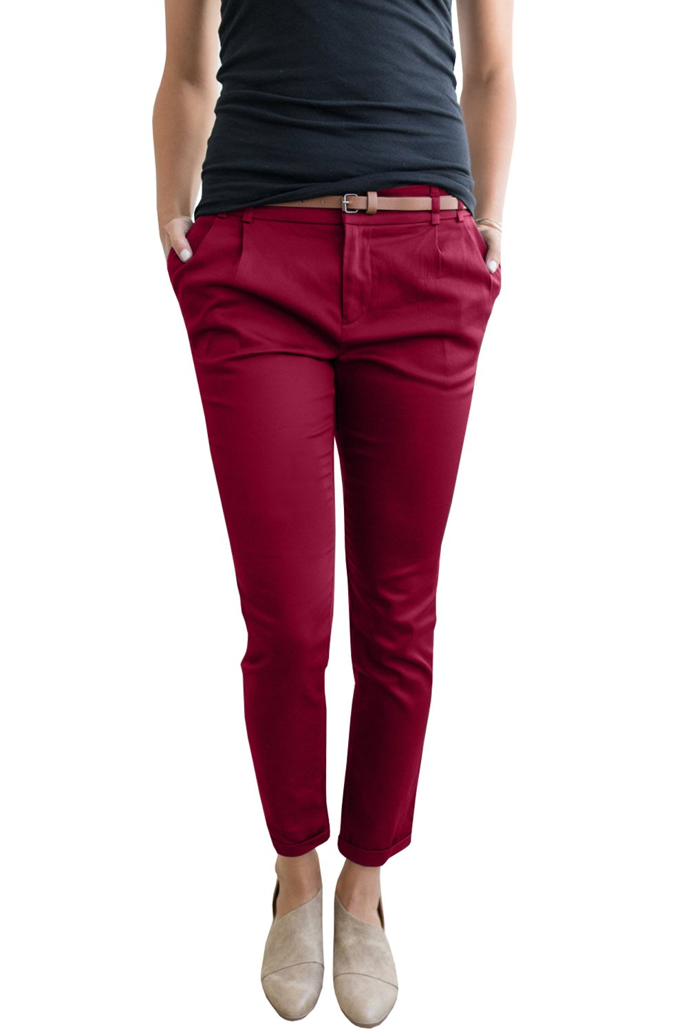 Chuanqi Womens Casual Straight Leg Cropped Ankle Comfortable Work Pants with Pockets,Wine Red,Large
