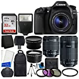 Canon EOS 80D DSLR Camera Body + Canon EF-S 18-55mm is STM & Canon EF-S 55-250mm is STM Lens + 58mm 2X Lens + Wide Angle…
