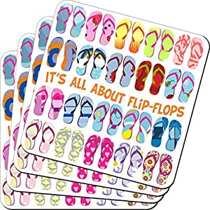 Rikki Knight It's All About Flip Flops Multi Design - Soft Square Beer Coasters (x8)