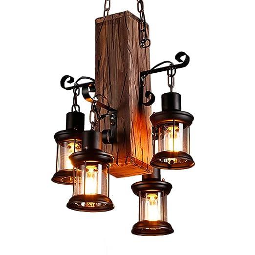 Lámpara colgante Retro Madera industriales Lámpara de techo Vintage Candelabros Antiguo Colgante E27 vidrio iluminación colgante para salón mesa de ...