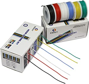 CBAZY Hook up Wire Kit (Stranded Wire Kit) 18 Gauge Flexible Silicone Rubber Electric Wire 6 Colors 16.4 feet Each 18 AWG