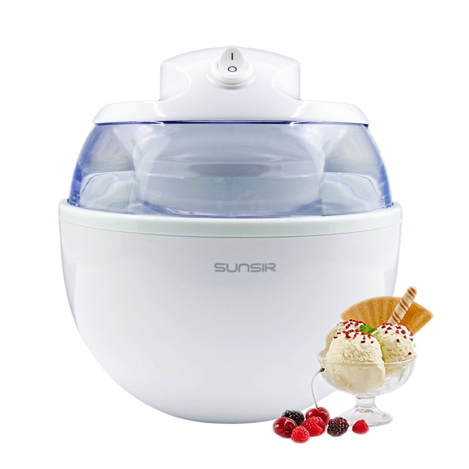Sunsir Home Mini Automatic Ice Cream, Frozen Yogurt and Sorbet Dessert Maker Machine for DIY Fun, Customize Your Own Flavor 3/5-Quart/0.6L, White ICM6