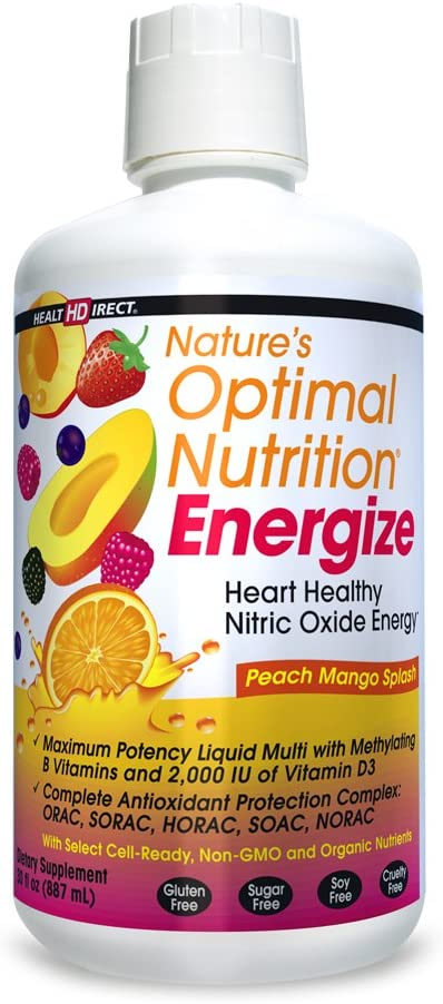 Nature s Optimal Nutrition Energize Liquid Multi Peach Mango Splash, 30 fl oz Health Direct