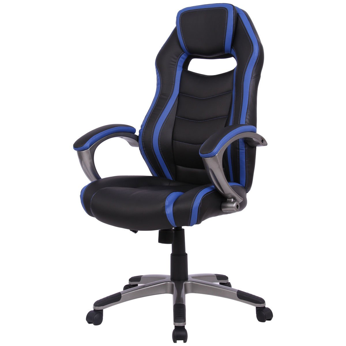 Giantex High Back Racing Chair Home Office Gaming Chair Bucket Seat with Swiveling Casters (Blue & Black)