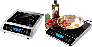 Duxtop Professional Portable Induction Cooktop & Portable Induction Cooktop, Countertop Burner Induction Hot Plate with LCD Sensor Touch 1800 Watts, Silver 9600LS/BT-200DZ
