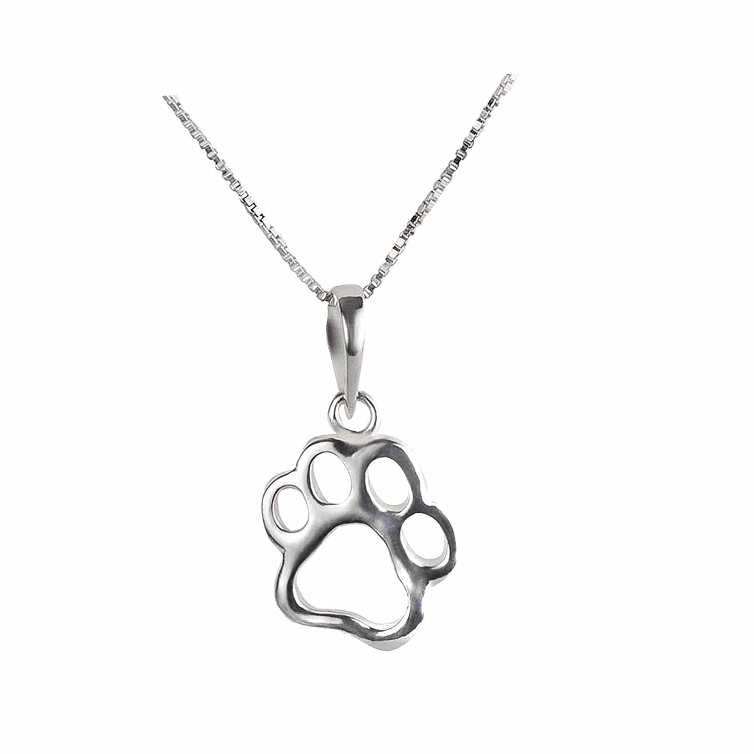 SL-Silver 925Sterling Silver Dog Paw Pendant Necklace Set in Gift Case ansilber122