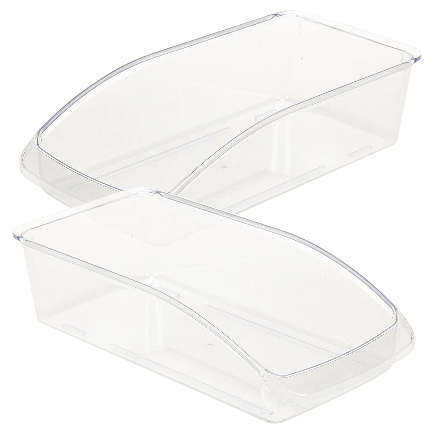 2x Medium Clear Plastic Fridge Storage Organiser EASYGIFT