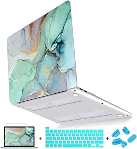 Mektron New MacBook 16 inch Case 2019, Scratch Resistance Protective Cover for MacBook Pro 16 A2141 with Touch bar and Touch ID, Green Marble