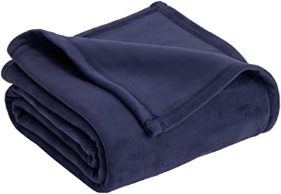 MD Group Plush Blanket Home Micro Mink Soft Luxurious Navy Full/Queen Polyester Heavy Weight Sofa Bedding
