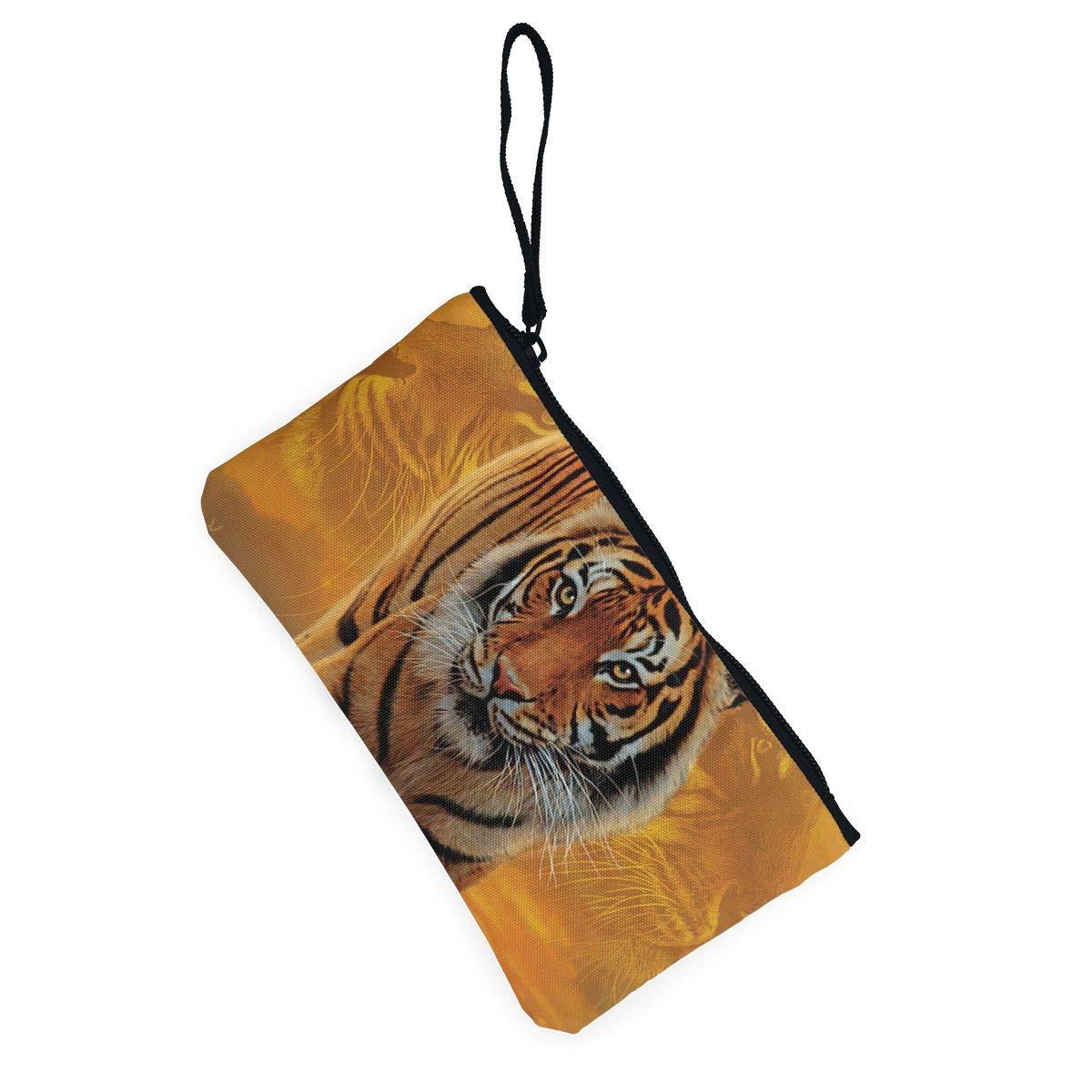 Canvas Cash Coin Purse,Rising Sun Tiger Print Make Up Bag Zipper Small Purse Wallets