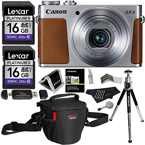 Canon PowerShot G9 X Digital Camera 20.2 MP Sensor & Wi-Fi Silver + Lexar 32GB 2 Pack + Ritz Gear Case + Card Reader + Polaroid 8